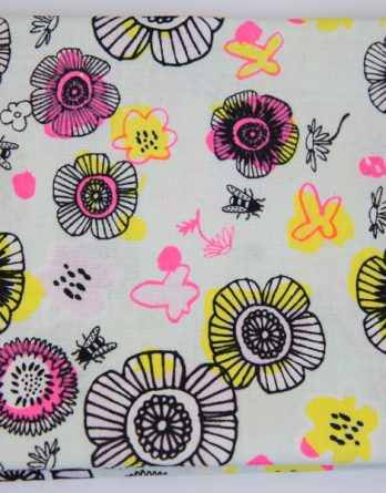 tissu fleurs fluos