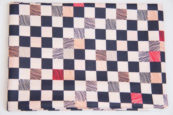 coupon de tissu coton damier rico design dodynette